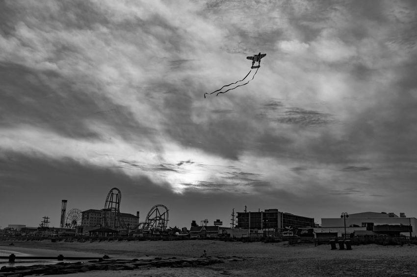 Airplane kite at Ocean City Boardwalk Flying Beach Sky Outdoors People Day