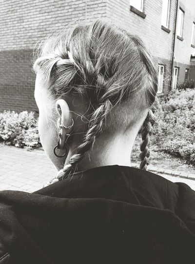 Rear view of girl with braided hair