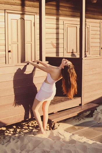 Full length of woman dancing
