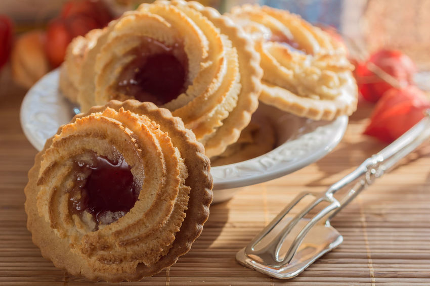Bakery Cake Close-up Cookies Day Dessert Food Food And Drink Freshness Indoors  Jam Marmelade No People Ox Eye Oxeye Pastries Pastry Plate Ready-to-eat Sweet Sweet Food Table