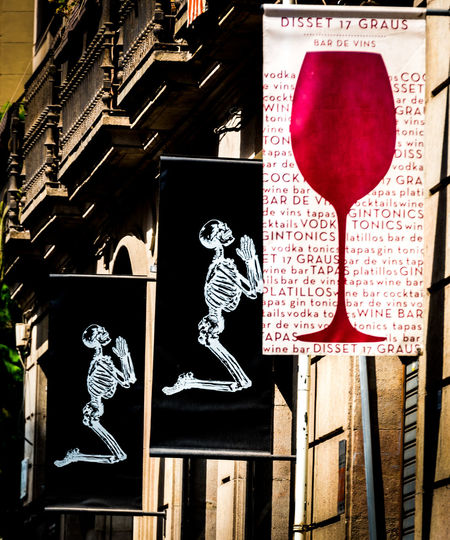 Advertising Skeleton Architecture Close-up Day No People Outdoors Text Wine Wineglass