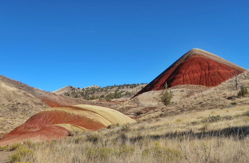Landscape of barren red, orange and yellow hills in Oregon Multi Colored Red Hills Oregon John Day Fossil Beds National Monument Sky Blue Clear Sky Land Nature Day Landscape No People Pyramid Environment Desert Scenics - Nature Sunlight Copy Space Tranquil Scene Tranquility Outdoors Grass Mountain Remote Red