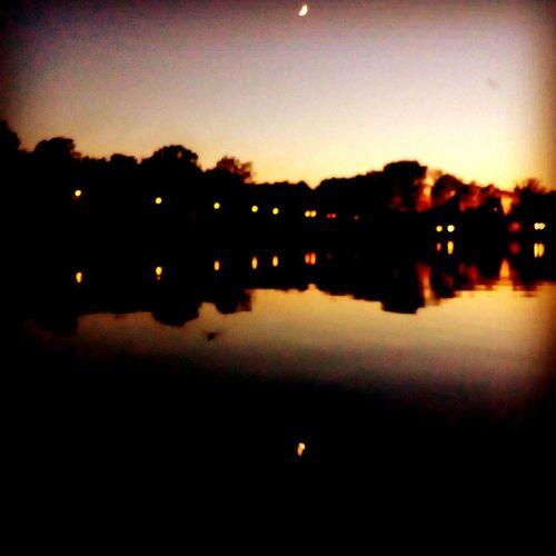 Lake Jezioro Zalew Woda Water Night Noc Moon Księżyc Odbicie W Wodzie Sky Nature No People Tree First Eyeem Photo