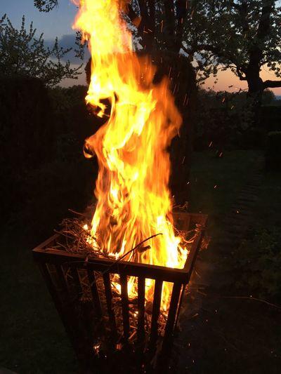 Close-up of bonfire during sunset