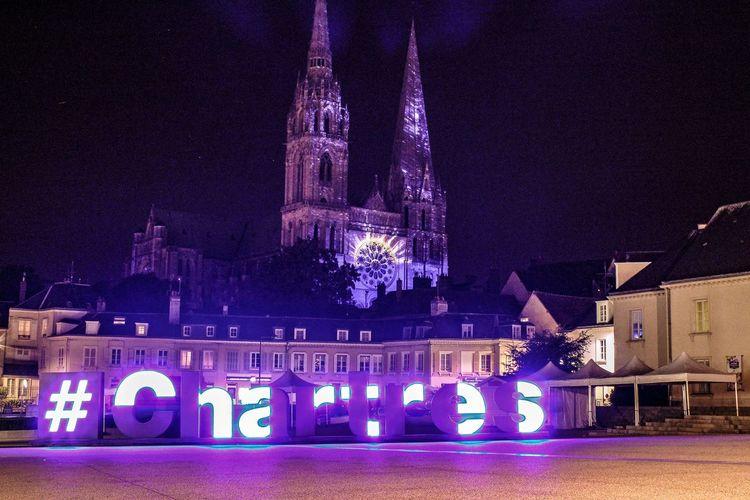 Chartres by Night EyEmNewHere Night Nightphotography Night Lights Chartres By Night Ilumination Iluminated Illuminated Clock Astrology Sign Celebration Clock Face LED HUAWEI Photo Award: After Dark