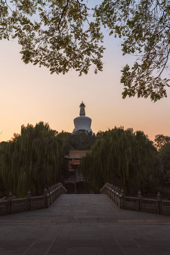 View of historical building at sunset