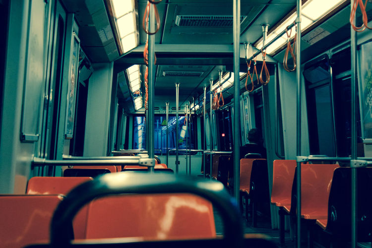 Interior Of Illuminated Metro Train