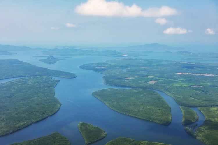 Aerial view of lake against sky