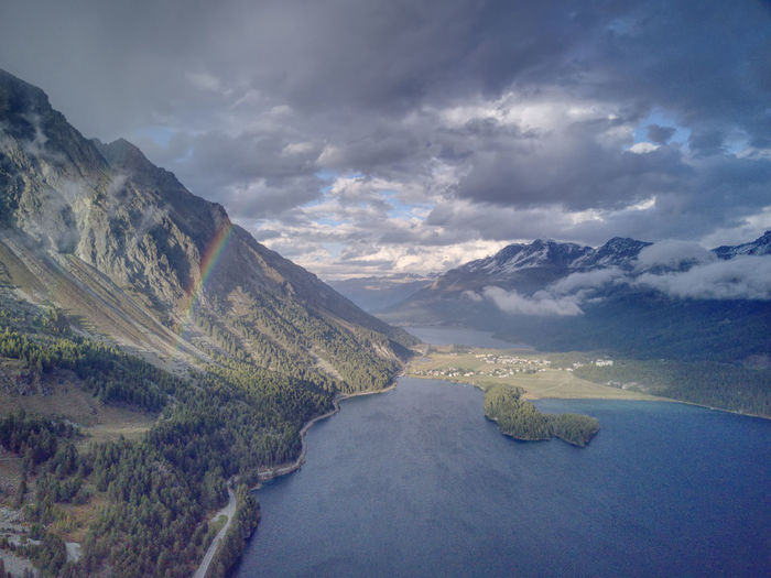 Drone  Aerial Photography Beauty In Nature Cloud - Sky Day Dronephotography Engadin Lake Landscape Mountain Mountain Range Nature No People Outdoors Rainbow Scenics Sky Tranquil Scene Tranquility Water Be. Ready.