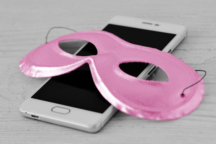 Pink mask on