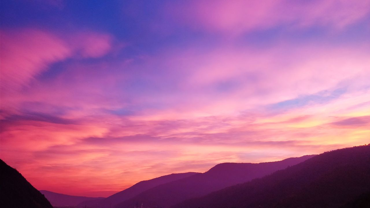 sunset, beauty in nature, sky, nature, mountain, scenics, tranquil scene, tranquility, no people, silhouette, outdoors