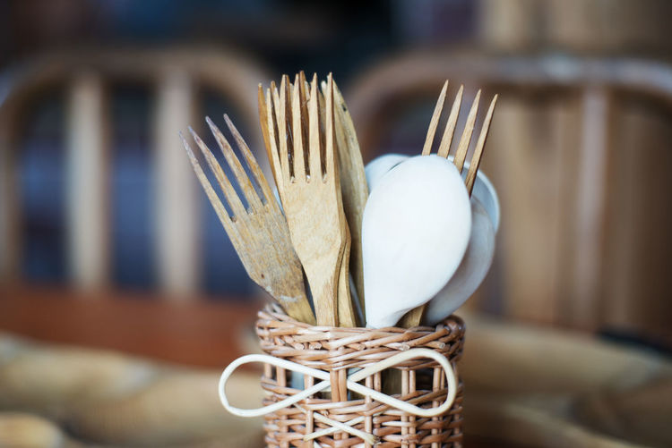Close-Up Of Wooden Spoons And Forks
