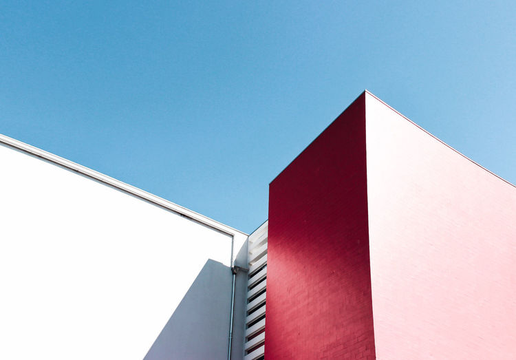 Kauai Architecture Blue Building Exterior Built Structure Clear Sky Copy Space Day Light Light And Shadow Low Angle View Minimal Minimalism Minimalistic Modern No People Outdoors Pink Red Shapes Sky Sunlight, Shades And Shadows The City Light Millennial Pink The Architect - 2017 EyeEm Awards The Graphic City