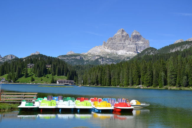 Colours Lago Di Misurina Paddle Boats Reflection Trees Lake Landscape Pedalo Reflections In The Water Scenery