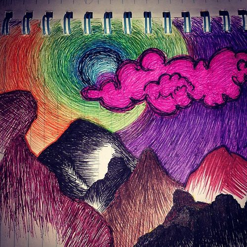 I love using gel pens! I love color and expressing my imagination with it! Handmade Abstract Art Vivid Colorful Gelpens Penstrokes Drawingmystressesaway ExpressYourself @instagram Doodles Insidemysketchbook Pensonly Igartwork ❤Shiirllz