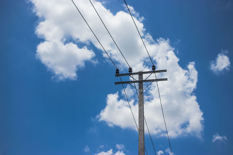 Sky Architecture Cloud - Sky No People Nature Day Outdoors Low Angle View Technology Cable Connection Electricity  Blue Power Line  Power Supply Electricity Pylon Fuel And Power Generation Pole Communication Tall - High Electrical Equipment Telephone Line
