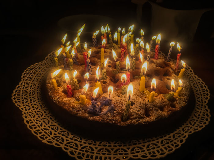 Birthday Cake Birthday Candles Black Background Burning Candle Celebration Flame My Year My View No People Ready-to-eat