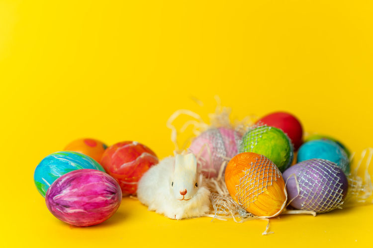 Easter time Easter Easter Egg Springtime Spring Colors Colorful Multi Colored Easter Studio Shot Yellow Background Yellow Colored Background Pastel Colored Variation Easter Egg Eggshell Pastry Animal Egg