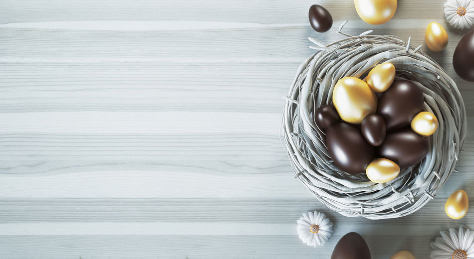 Directly Above Shot Of Easter Eggs On Table