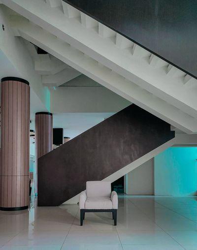 Empty chair in modern building