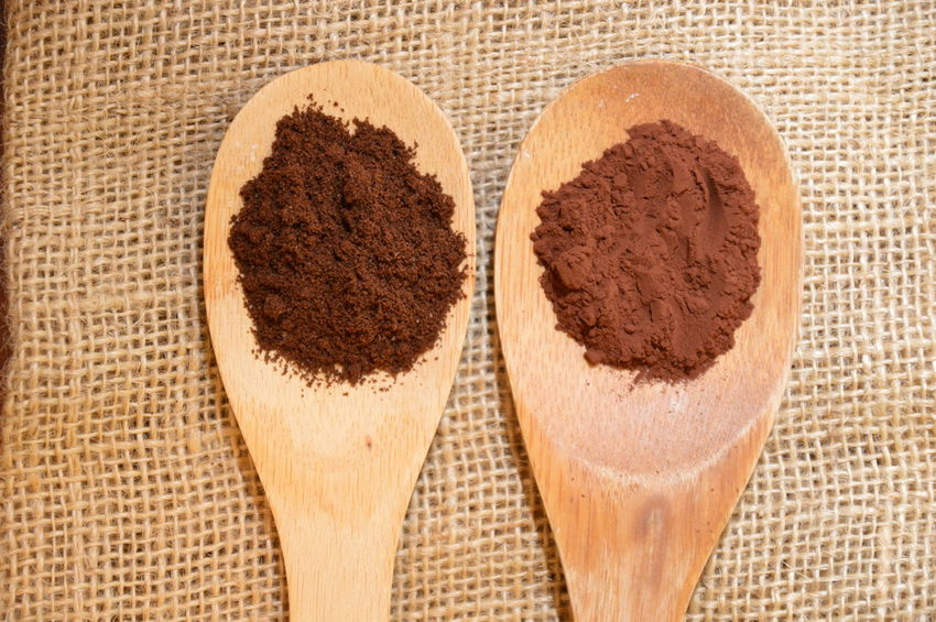 coffe and cocoa on wood spoon Food And Drink High Angle View Directly Above Food Sweet Food No People Indoors  Close-up Day