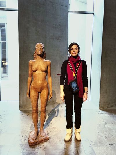 The same since centuries Doppelgänger Twin Serius Germany Egypt HUMANITY Human Same  Women Museum Full Length Front View Young Adult Young Women Casual Clothing Standing Press For Progress Portrait Real People Two People Day Indoors  Adult Looking At Camera Architecture People