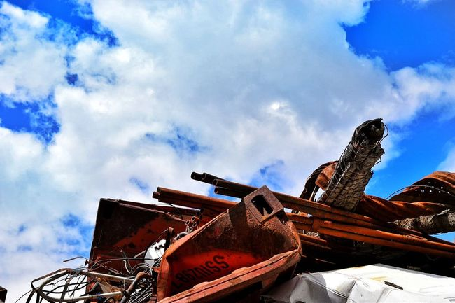 Cloud - Sky Day No People Sky Outdoors Roof Low Angle View Rural Scene Electricity Pylon Wooden Post Barbed Wire Razor Wire Blue The Great Outdoors - 2017 EyeEm Awards Power Line  Nature Alaska Alaska View Scrap Metal Antique Junk Trash Trash Heap Scrap Scrap Yard