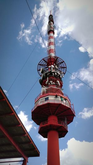 Transmitter Tower Transmitter Colors Colorful Red White Blue Blue Sky Blue Sky And Clouds Blue Sky White Clouds