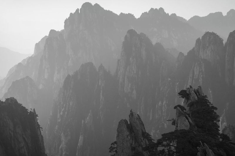 Adventure ASIA Beauty In Nature Black And White Blackandwhite Canyon China Chinese Cliff Huangshan Landscape Mountain Mountain Range Nationalpark Nature Rock Formation Scenics Travel Trees Valley