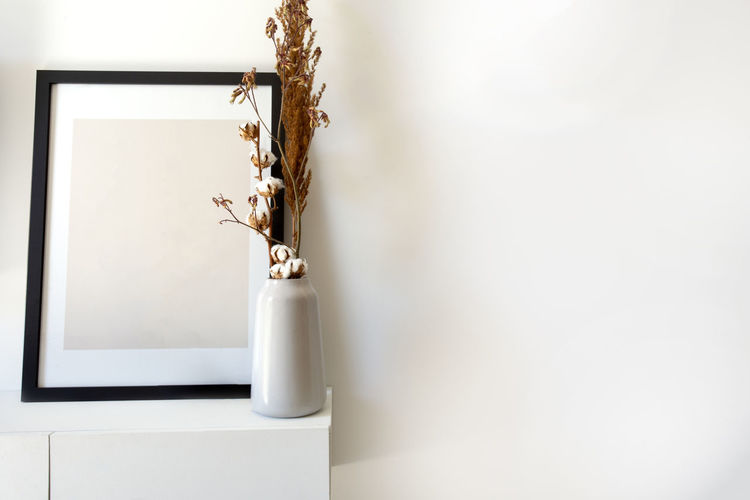 Close-up of white flower in vase against wall at home