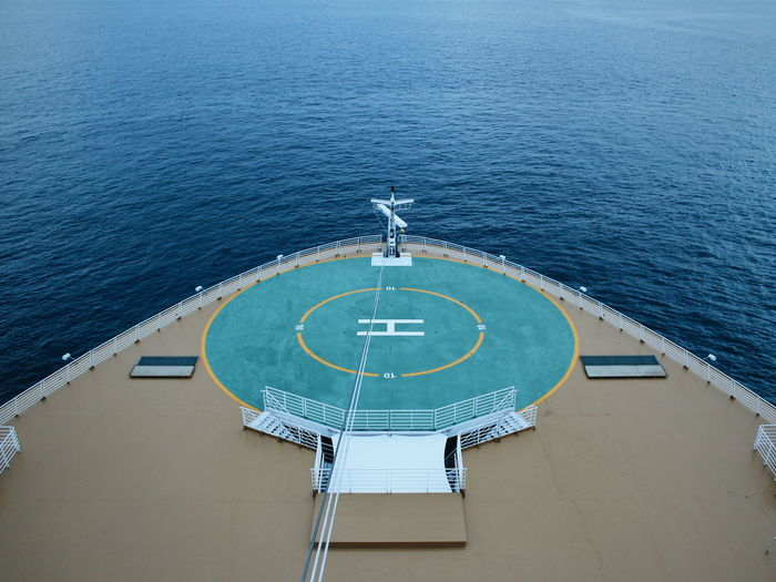 High angle view of helipad in ship on sea