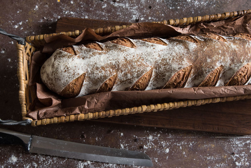 Miche Baguette Bread Country Homemade Ready To Eat Rustic Bakery Basket Bread Close-up Food French Loaf Loaf Of Bread Miche No People Rustic Sourdough Top View