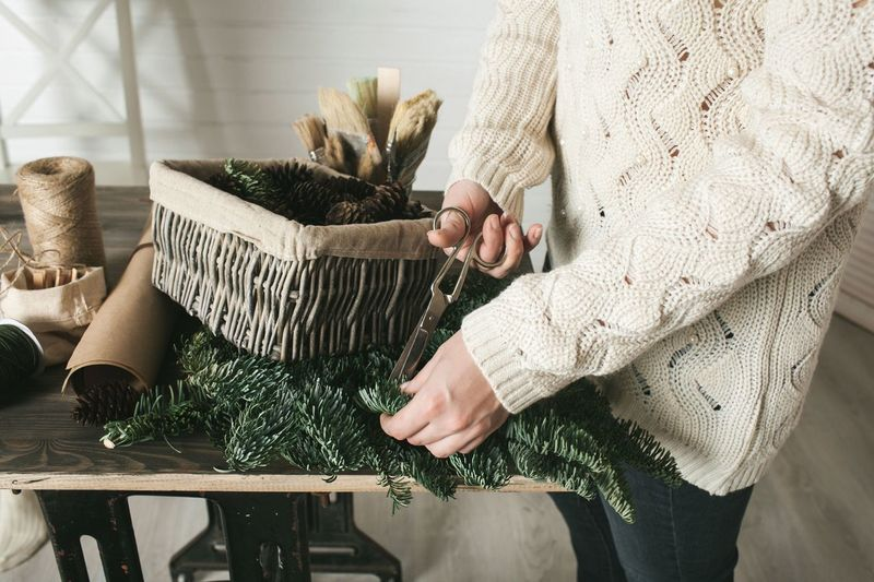 Always Be Cozy Human Hand Indoors  Plant Women Human Body Part Home Interior Table Christmas Close-up People Still Life Lifestyles Craft DIY Hands Warm Clothing Sweater Holding Unpacking Box Gift Scissors Handmade For You Holiday Moments