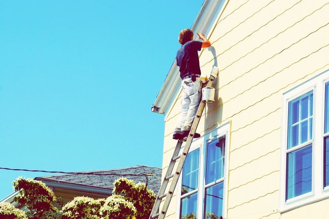 Trimmer Painting Painter On A Ladder Ladder Paint Cottage Stonington Connecticut Ladders Working