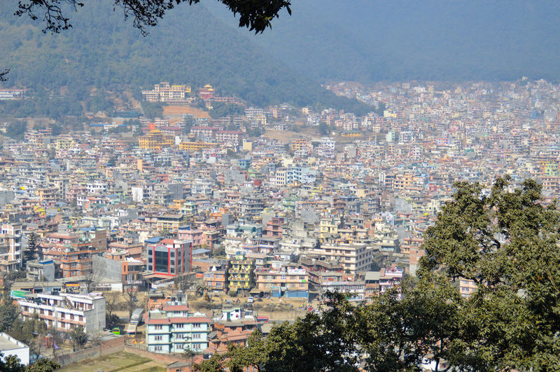 Cityscape City Building Exterior Architecture Outdoors Sky Travel Destinations Crowded Aerial View Built Structure Day Illuminated Skyscraper Tree Urban Skyline People Textures And Surfaces Fog In The City Kathmandu, Nepal Travel Photography Travel