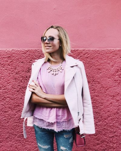 Fashion Stories Pink Color Sunglasses Fashion One Person Portrait One Woman Only Eyeglasses  Standing Women Young Adult Blond Hair Day Outdoors Young Women People