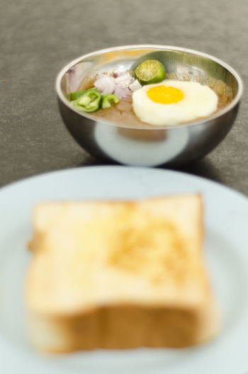 Bowl Bread Close-up Egg Yolk Food Freshness Fried Egg Healthy Eating Kacang Pool Lime Loaf Of Bread Metalic Ready-to-eat Stainless Steel Bowl