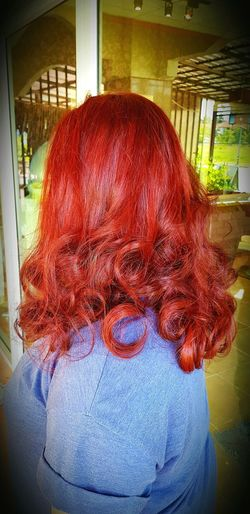 scarlet hair Haircolor Scarlet Hair Red Window Close-up
