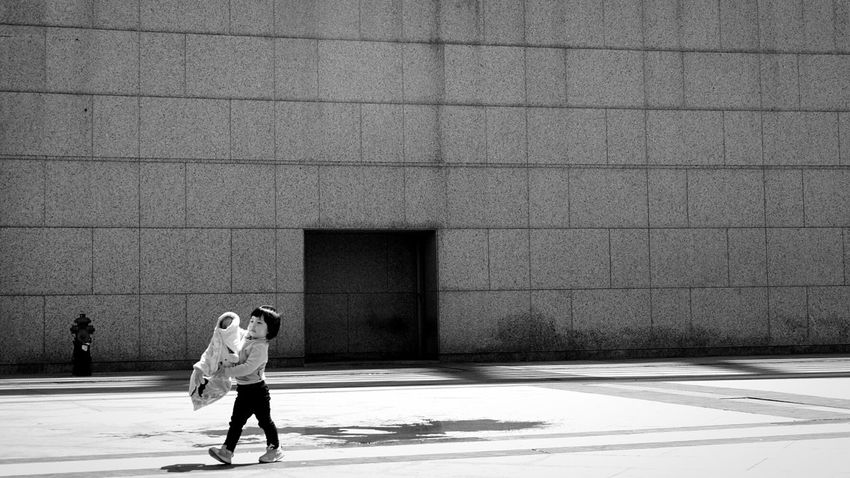 Let's get started. Child Girl Jacket Sun Change Perspective Beton Architecture Dreary Urban Mood Motivation 16x9 Blackandwhite Nocolour Shanghai, China
