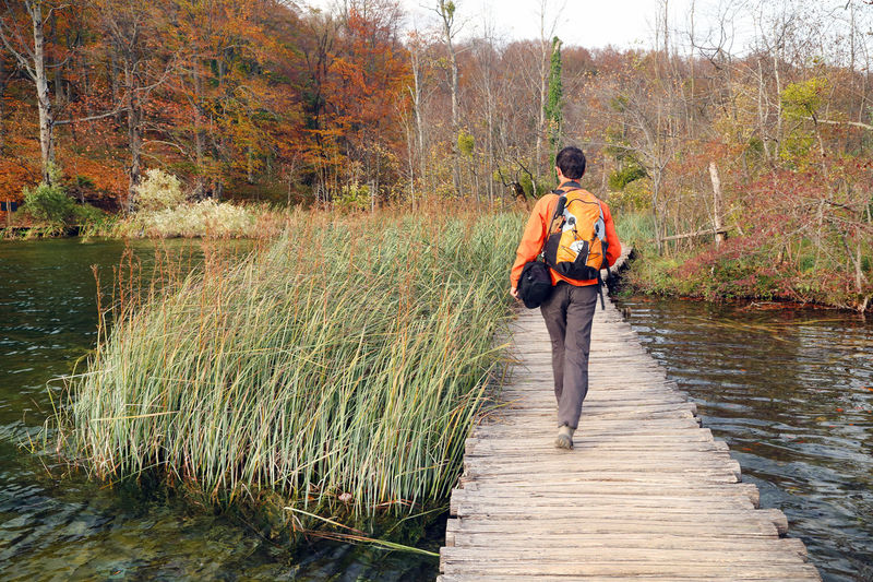 Rear view of man walking on boardwalk over lake at plitvice lakes national park