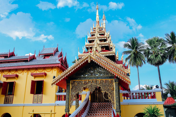 Watsrichum Built Structure Architecture Building Cloud - Sky Sky Tree Nature Plant Outdoors Temple Monastery Artistic Myanmar Yellow Gold