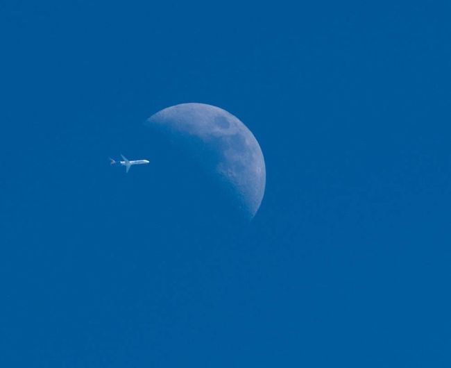 Fly-by. (Not a fake.) Blue Moon Flying Nature Sky Half Moon Airplane 365project