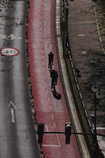 Cyclist on the bicycle track in the city in bilbao city spain