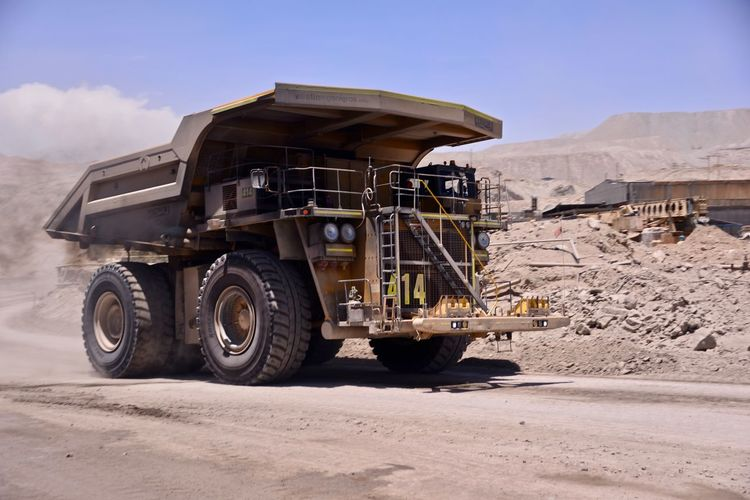 Massive Chuqui Copper  Day Dumpling  Industry Mining Outdoors Pit Quarry Sky Track Transportation