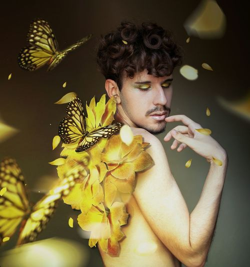 Sweet Portrait Surreal Beauty Flower Fantasy Art Yellow Background Abstract Conceitual Beautiful People Boy Make-up Yellow Graphic Design Spring Surrealist Art Surrealism Surrealism And Fantasy Art Fantasy Photography Manipulationphotography Eyes Closed  Petals Butterfly