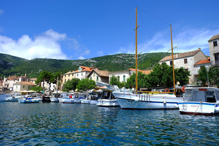 Architecture Beach Building Exterior Croatia Day Harbor Hill Moored Nautical Vessel No People Outdoors Sailboat Seaside Sky Tourism Travel Destinations Tree Vacations Water Yacht