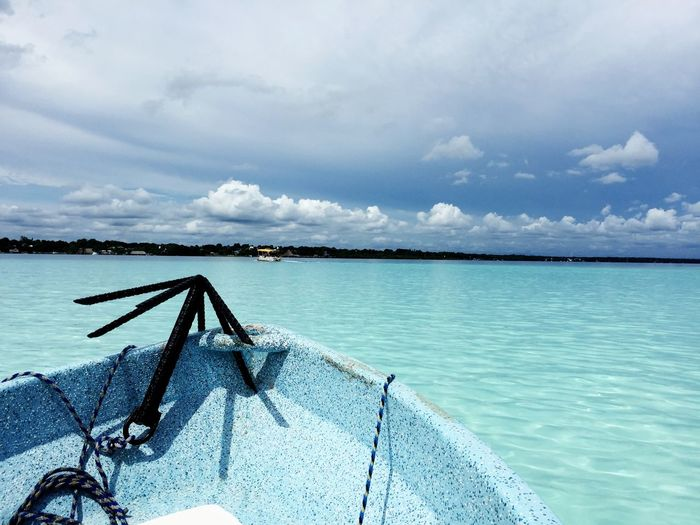 Exercise in blue Boating Adventure Travel Travel Destinations Azul Boat Mexico Pueblomagico Bacalar Lagoon Bacalar Laguna De Los 7 Colores Lagoon Freshwater Lake Water Sky Cloud - Sky Tranquility Nature Blue Idyllic Outdoors Turquoise Colored