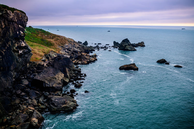 Seascape Off The Coast Of Trinidad, California. Seascape Sea Rock Water Horizon Over Water Scenics - Nature Tranquility Rocky Coastline Beach Tranquil Scene Sky Nature Eroded Outdoors No People Horizon Beauty In Nature Day Trinidad