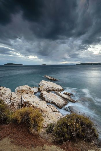 Skiathos Storm Coastline Coast Seaside Rocks And Water Movement Motion Long Exposure Sea And Sky Stormy Weather Weather Travel Photography Europe Medicane Storm Clouds Seascape Landscape Nature Greece Skathios Cloud - Sky Sky Sea Water Beauty In Nature Scenics - Nature Beach Horizon Overcast Storm Horizon Over Water