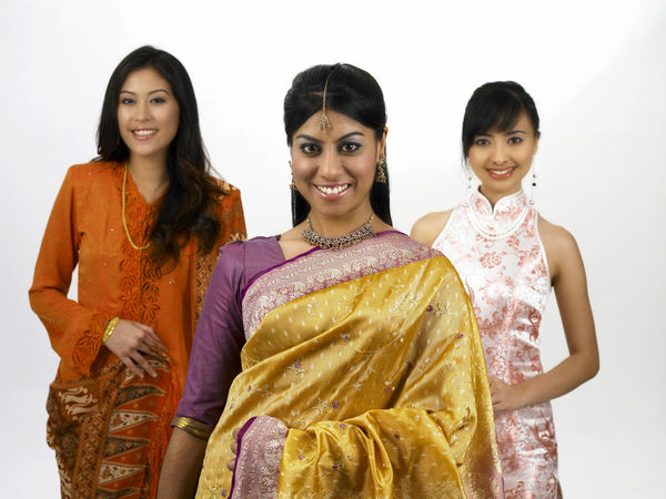 malaysia young woman in traditional costumes Friends Indian Traditional Clothing Baju Kebaya Bubby Cheongsam Chinese Friendship Group Of People Happiness Harmony Malay Ethnicity Malaysian Merdeka Mixed Race Multi Racial Racial Sari Smiling Together Togetherness Toothy Smile United White Background Women